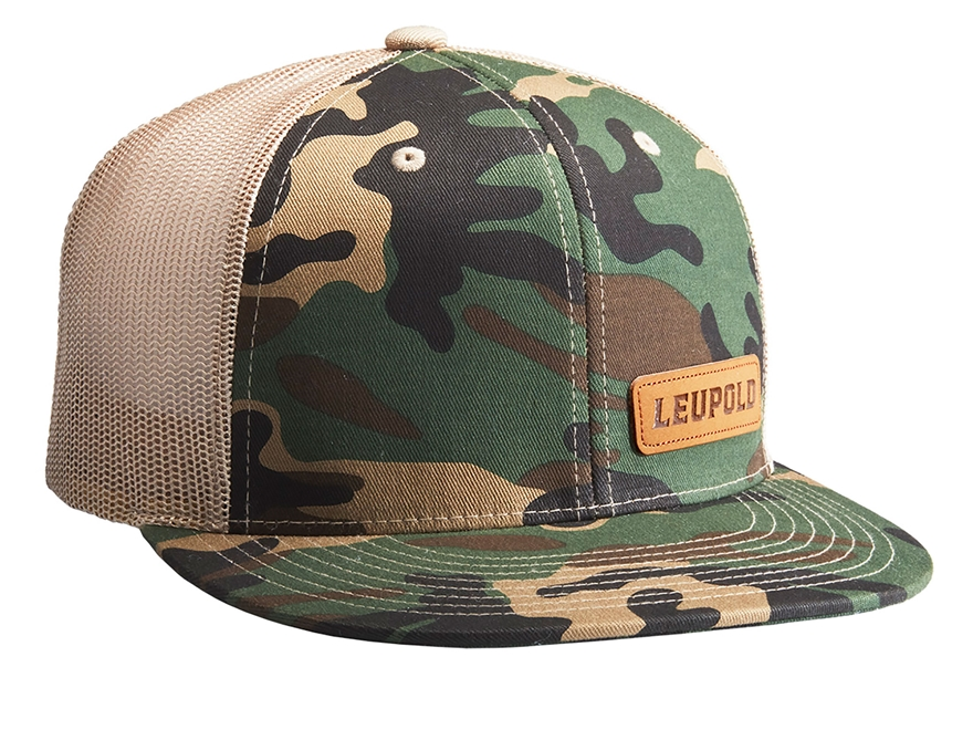 Leupold Leather Patch Logo Trucker Hat Polyester Camo/Khaki