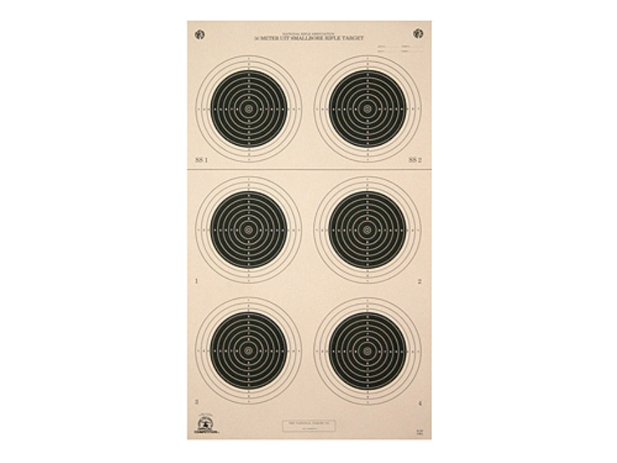 NRA Official Smallbore Rifle Targets A-50 50-Meter UIT Paper Pack of 100