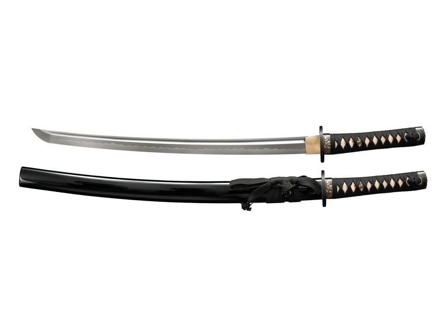 "Cold Steel Gold Lion Wakizashi 21"" Damascus Steel Blade Ray Skin Handle Black"