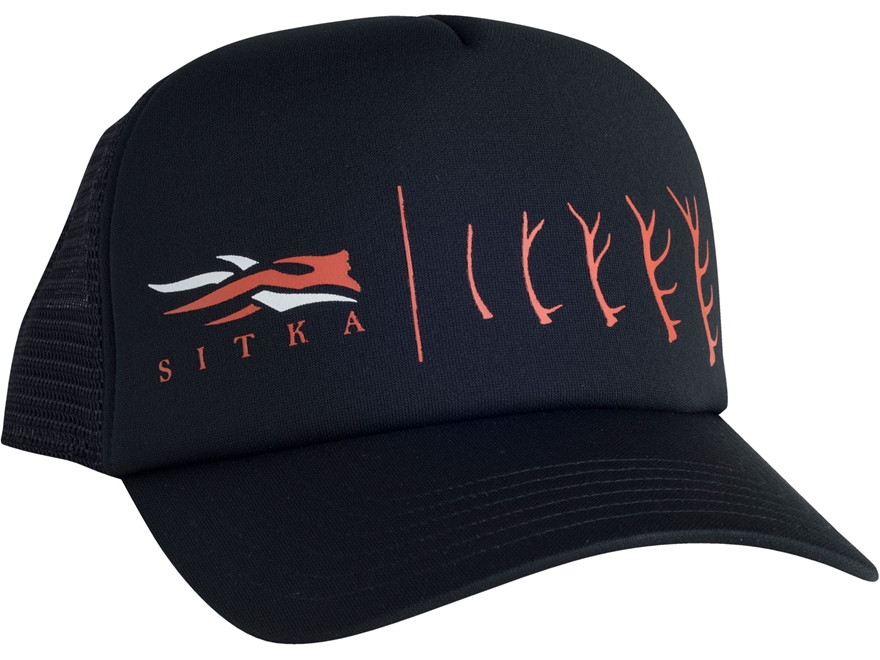 Sitka Gear Antler Evolution Elk Foam Trucker Hat Polyester Black One Size Fits All