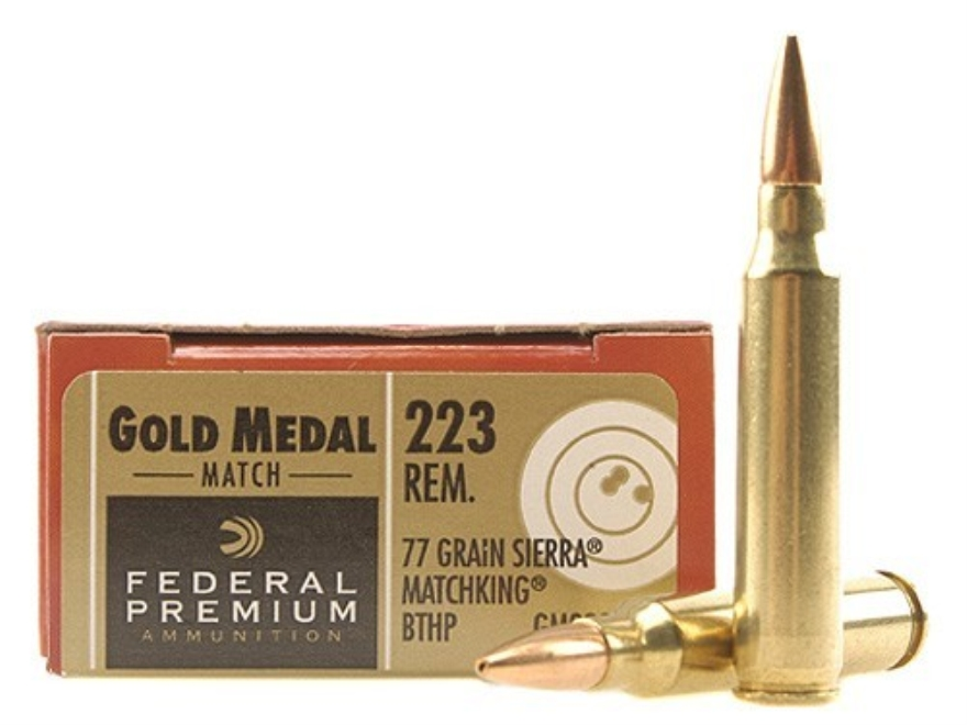 Federal Premium Gold Medal Ammunition 223 Remington 77 Grain Sierra MatchKing Hollow Po...