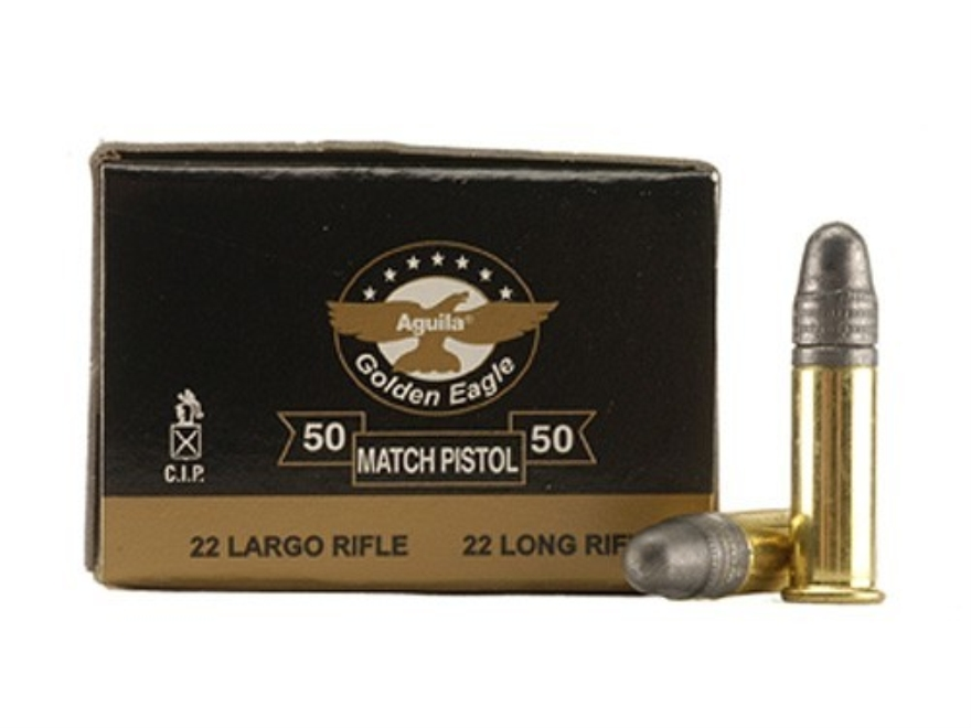 Aguila Match Pistol Ammunition 22 Long Rifle 40 Grain Lead Round Nose