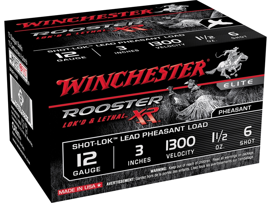 "Winchester Rooster XR Pheasant Ammunition 12 Gauge 3"" 1-1/2 oz #6 Shot-Lok Copper Plate..."
