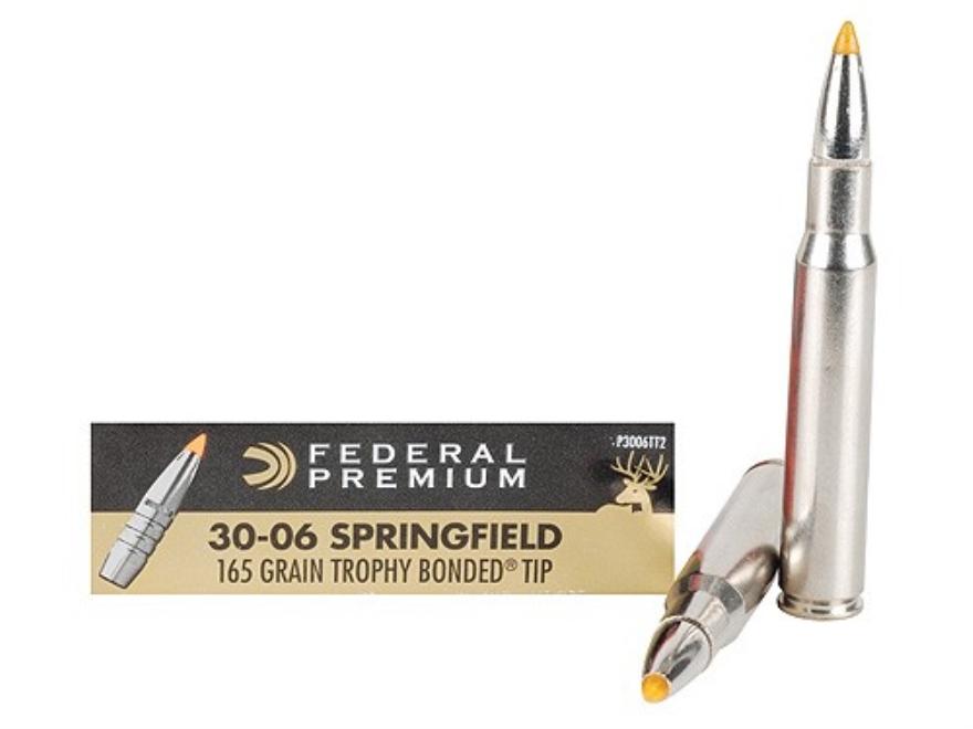 Federal Premium Vital-Shok Ammunition 30-06 Springfield 165 Grain Trophy Bonded Tip Box...