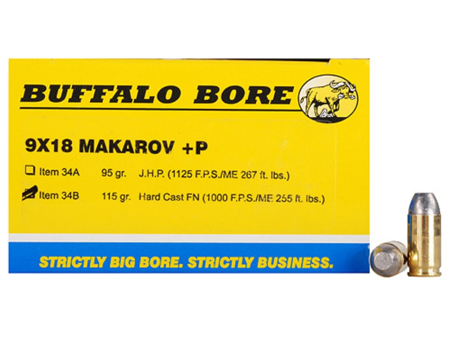 Buffalo Bore Ammunition 9x18mm (9mm Makarov) 115 Grain Hard Cast Flat Nose Box of 20