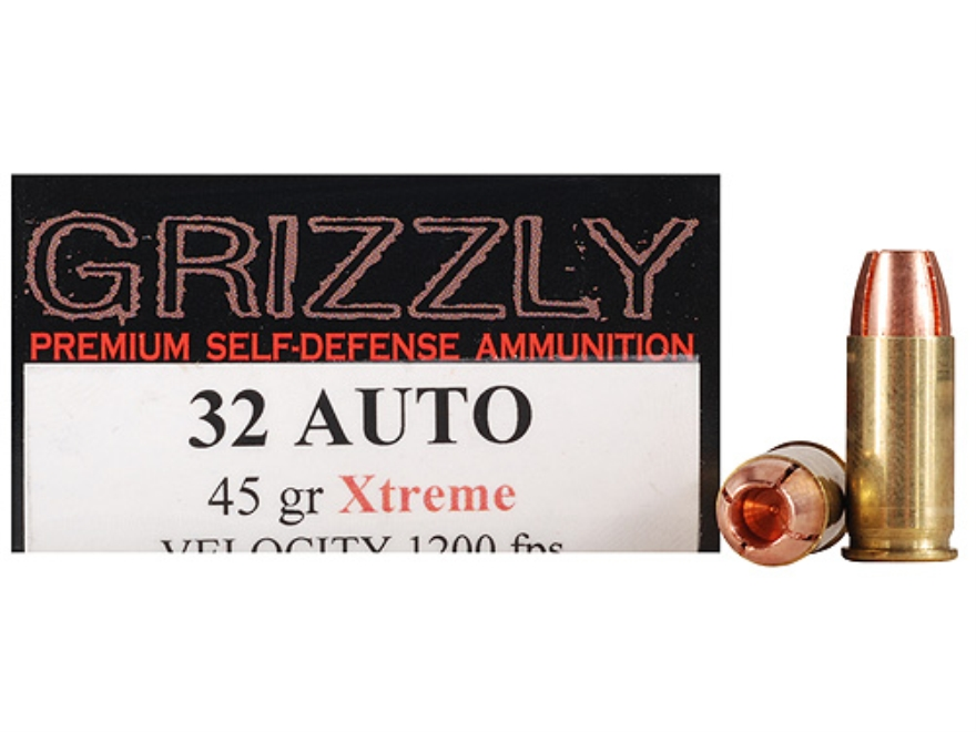 Grizzly Self-Defense Ammunition 32 ACP 45 Grain Xtreme Copper Hollow Point Lead-Free Bo...