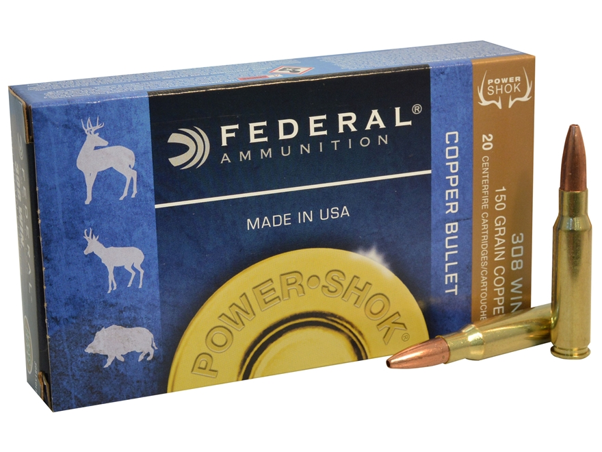 Federal Power-Shok Ammunition 308 Winchester 150 Grain Copper Hollow Point Lead-Free Bo...
