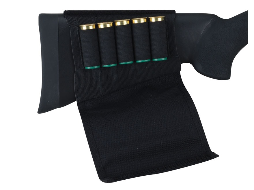 Uncle Mike's Buttstock Shotshell Ammunition Carrier with Flap 5-Round Nylon Black