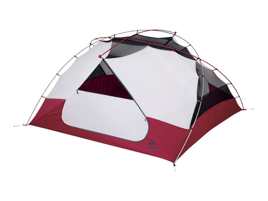 """MSR Elixir 4 Man Modified Dome Tent 88"""" x 88"""" x 48"""" Polyester Red and White"""