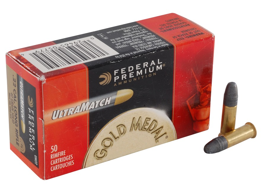 Federal Premium Gold Medal Ammunition 22 Long Rifle 40 Grain Lead UltraMatch