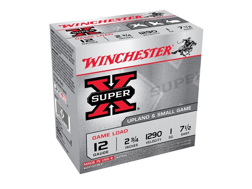 """Winchester Super-X Game Load Ammunition 12 Gauge 2-3/4"""" 1 oz #7-1/2 Shot"""