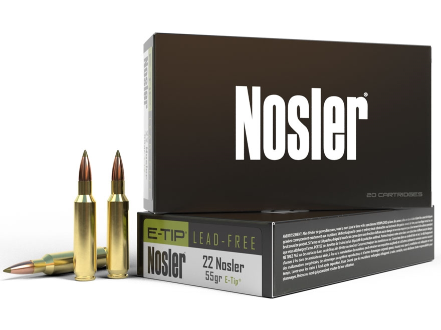 Nosler E-Tip Ammunition 22 Nosler 55 Grain E-Tip Lead-Free Box of 20