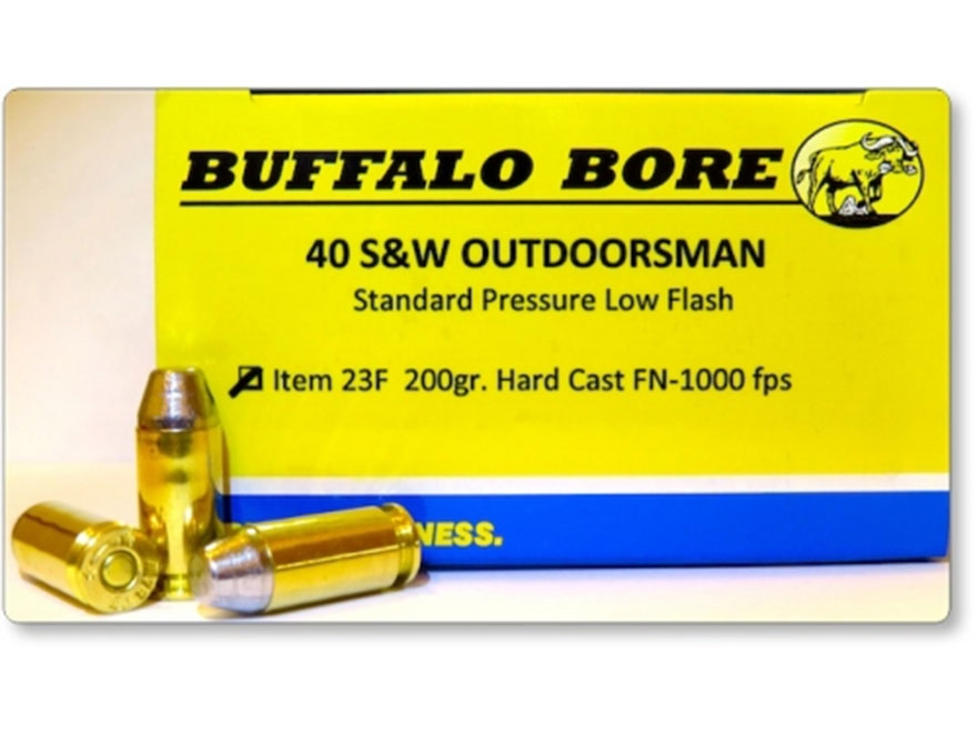 Buffalo Bore Ammunition Outdoorsman 40 S&W 200 Grain Hardcast Flat Nose Box of 20