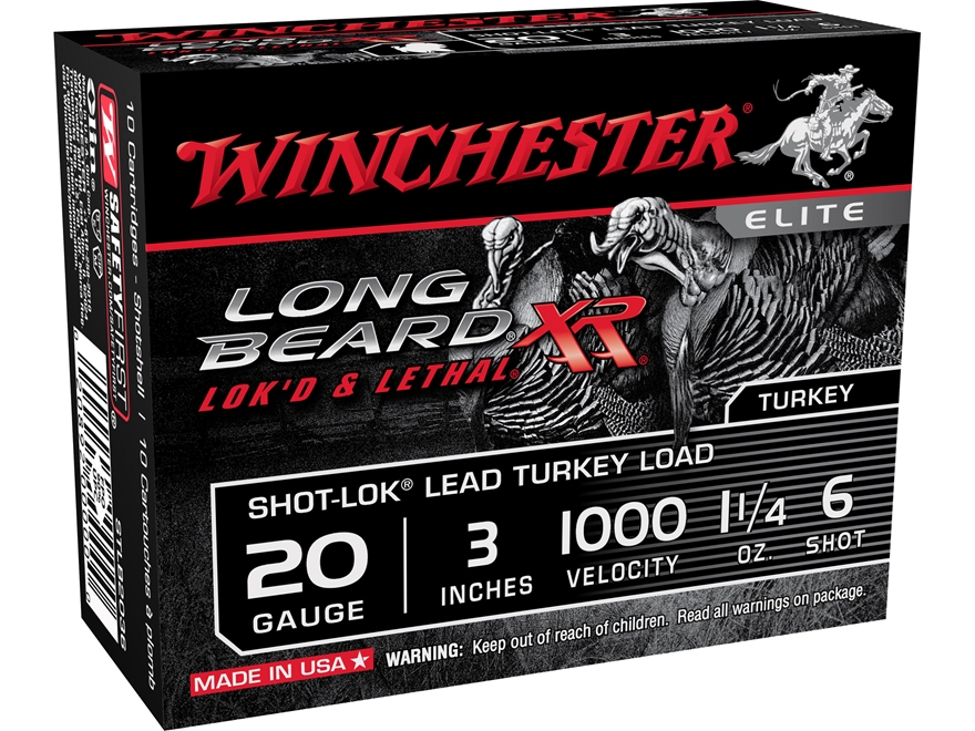 "Winchester Long Beard XR Turkey Ammunition 20 Gauge 3"" 1-1/4 oz #6 Copper Plated Shot"