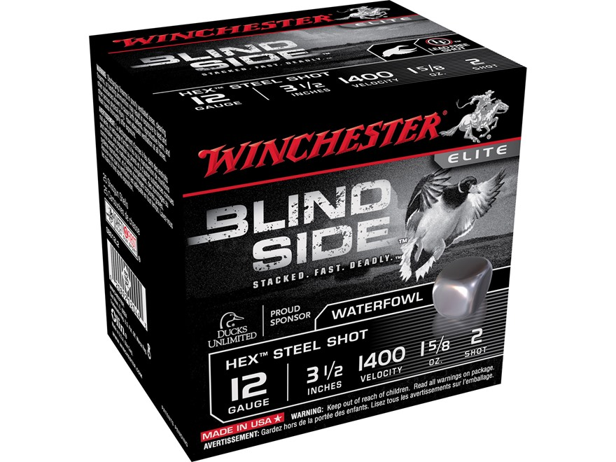 "Winchester Blind Side Ammunition 12 Gauge 3-1/2"" 1-5/8 oz #2 Non-Toxic Steel Shot"