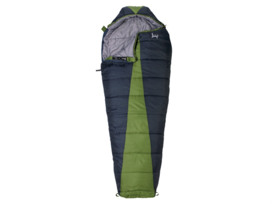 "Slumberjack Latitude 20 Degree Mummy Sleeping Bag 32"" x 82"" Polyester Navy and Green"
