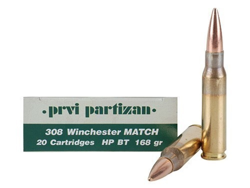 Prvi Partizan Match Ammunition 308 Winchester 168 Grain Hollow Point Boat Tail Case of ...