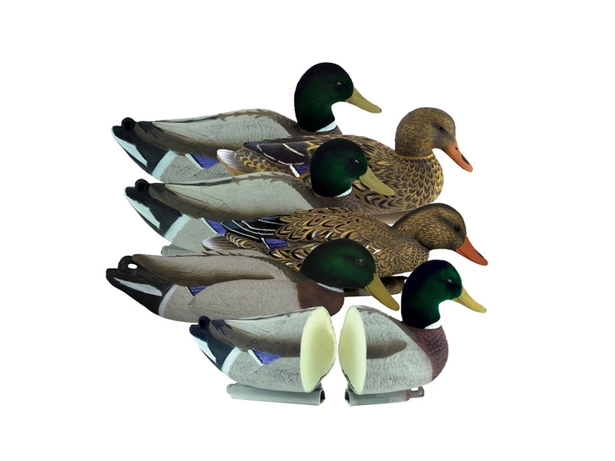 Higdon Magnum Foam Filled Flocked Head Mallard Duck Decoy Polymer Pack of 6
