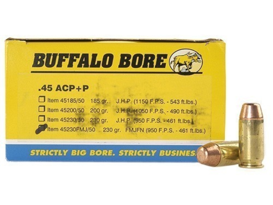 Buffalo Bore Ammunition 45 ACP +P 230 Grain Full Metal Jacket Box of 50