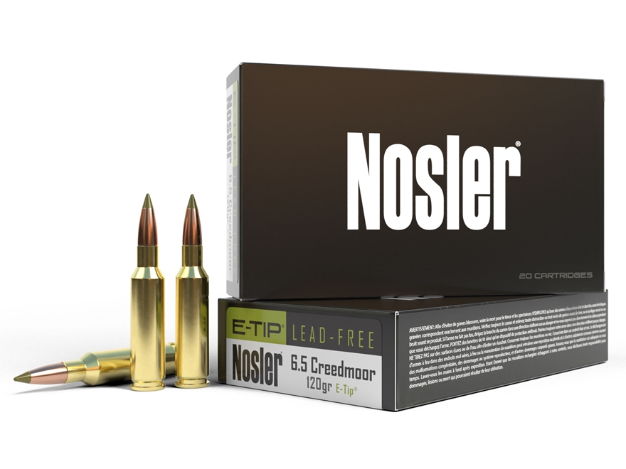 Nosler E-Tip Ammunition 6.5 Creedmoor 120 Grain E-Tip Lead-Free Box of 20