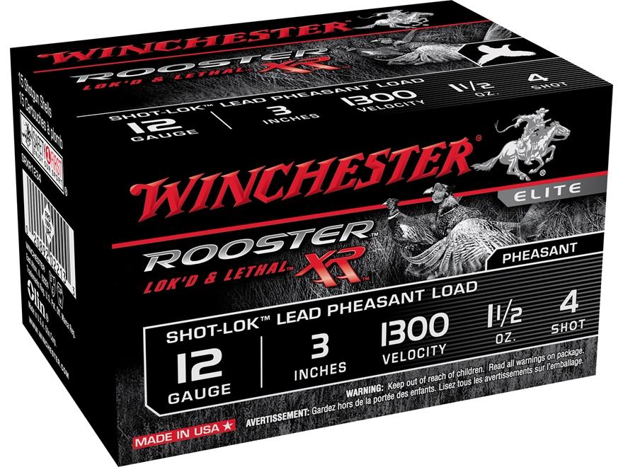 "Winchester Rooster XR Pheasant Ammunition 12 Gauge 3"" 1-1/2 oz #4 Shot-Lok Copper Plate..."