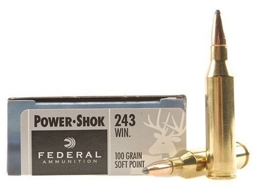 Federal Power-Shok Ammunition 243 Winchester 100 Grain Soft Point