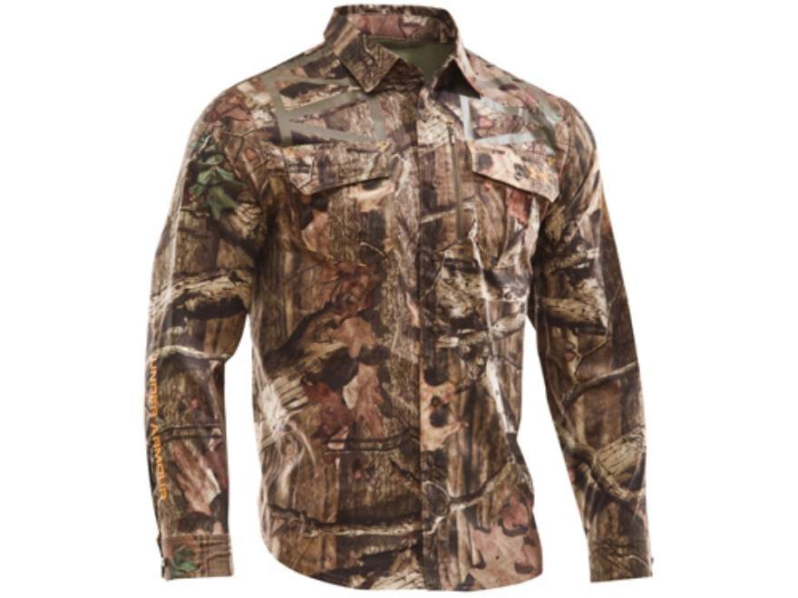 Under Armour Men's Lightweight Performance Shirt Long Sleeve Polyester Mossy Oak Break-...