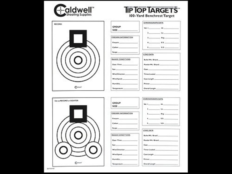 Caldwell Tip Top Target 100 Yard Benchrest Package of 10