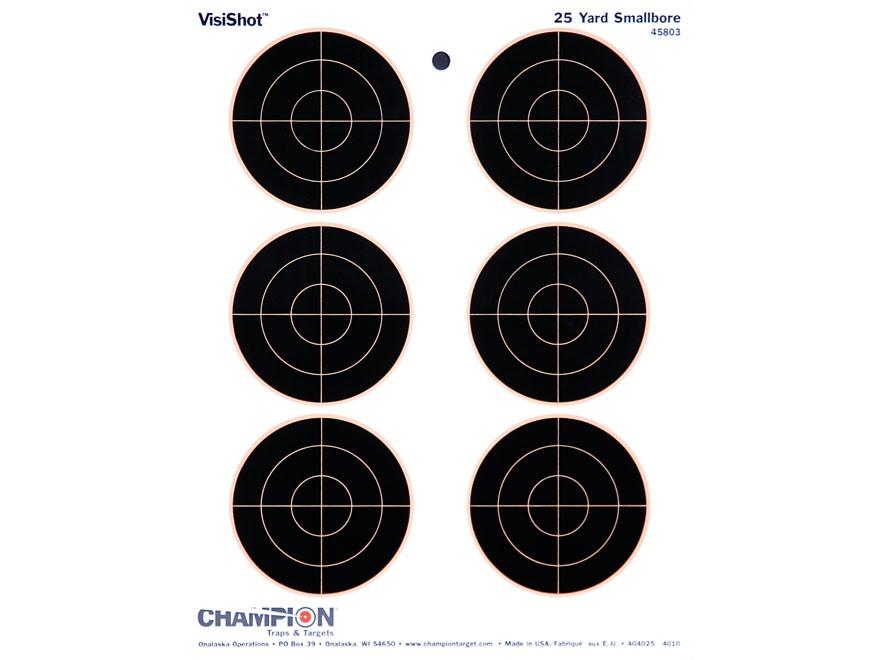"Champion VisiShot 3"" Bullseyes Targets 8.5"" x 11"" Paper Pack of 10"