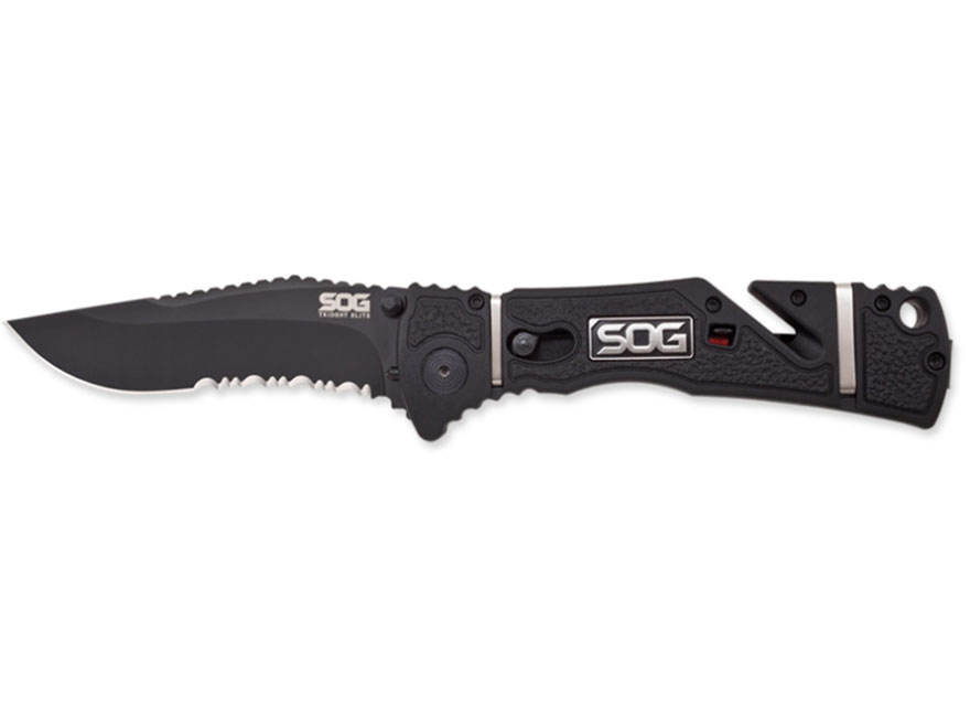 "SOG Trident Elite Assisted Opening Folding Knife 3.7"" Drop Point AUS-8 Stainless Steel ..."