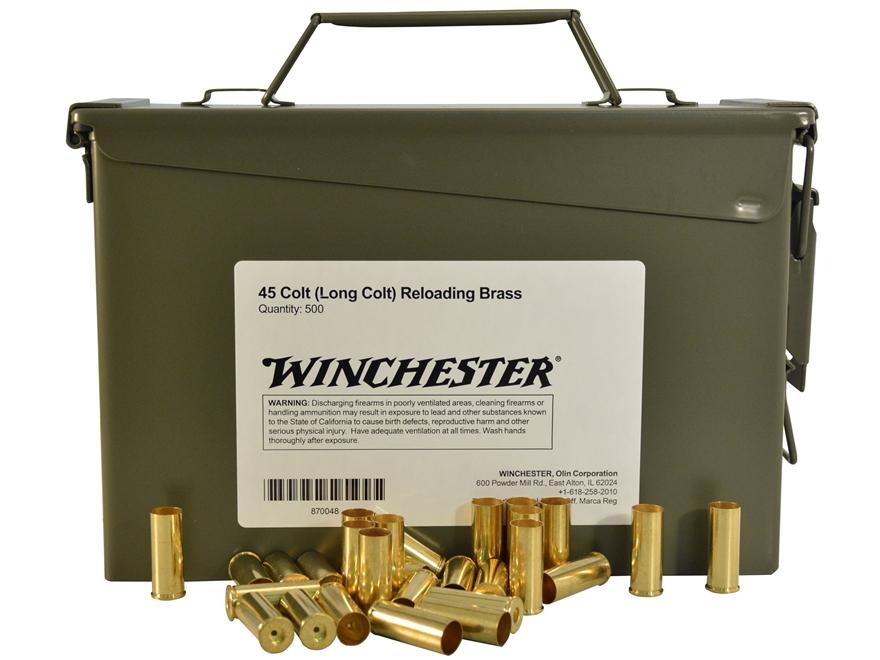 Winchester Reloading Brass 45 Colt (Long Colt) Ammo Can of 500 (Bulk Packaged)