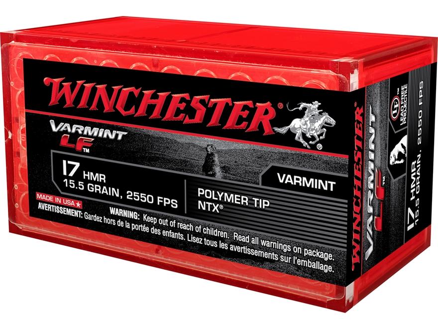 Winchester Varmint Ammunition 17 Hornady Magnum Rimfire (HMR) 15.5 Grain Hornady NTX Le...