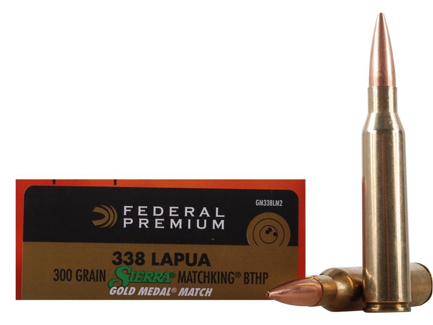 Federal Premium Gold Medal Ammunition 338 Lapua Magnum 300 Grain Sierra MatchKing Hollo...