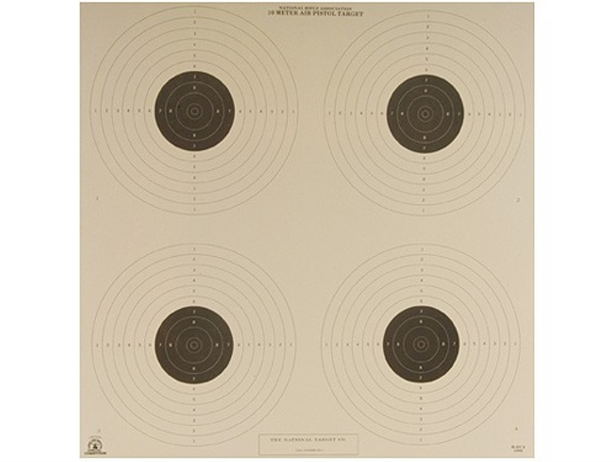 NRA Official Air Pistol Targets B-40/4 10 Meter Paper Pack of 100