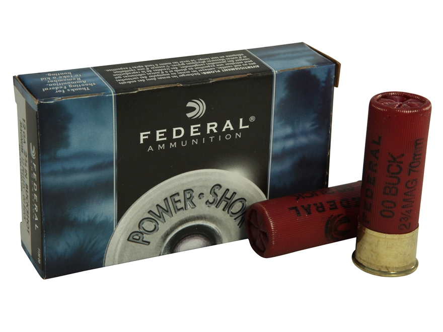 "Federal Power-Shok Ammunition 12 Gauge 2-3/4"" Buffered 00 Buckshot 12 Pellets Box of 5"