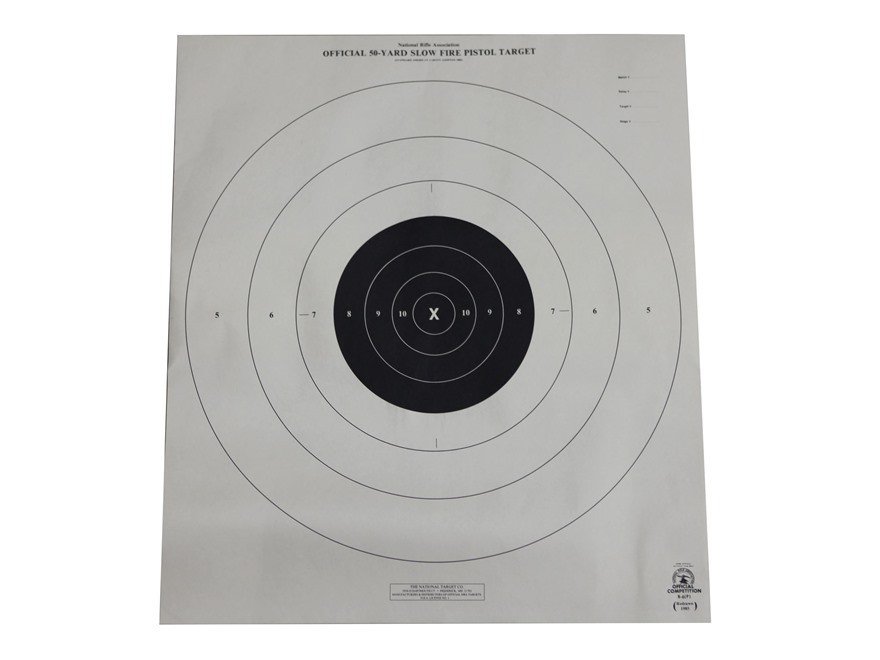 NRA Official Pistol Targets B-6 50 Yard Slow Fire Paper Pack of 100