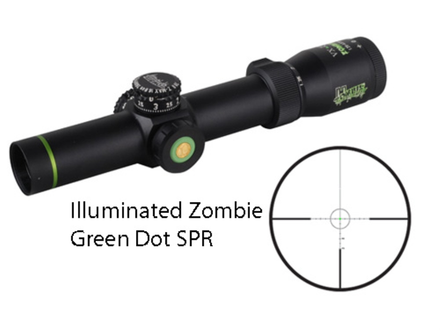 Leupold VX-R Zombie Rifle Scope 30mm Tube 1.25-4x 20mm Illuminated Zombie Green Dot SPR...