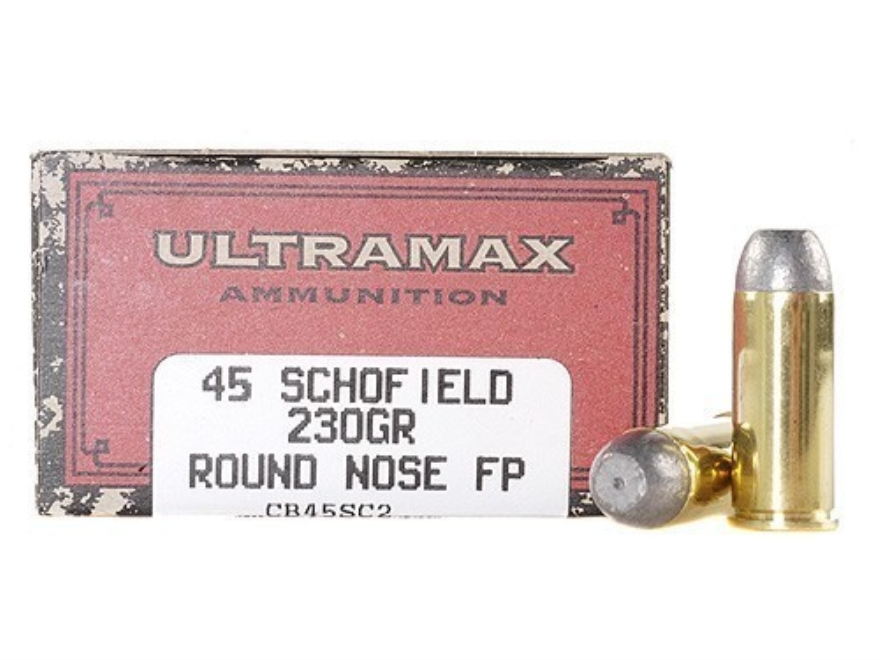Ultramax Cowboy Action Ammunition 45 S&W Schofield 230 Grain Lead Flat Nose Box of 50