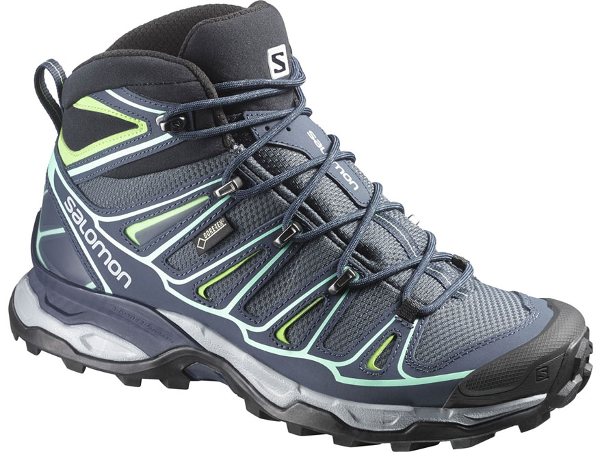 "Salomon X Ultra Mid 2 GTX 6"" Hiking Boots Synthetic Gray Denim/Deep Blue/Lucite Green W..."