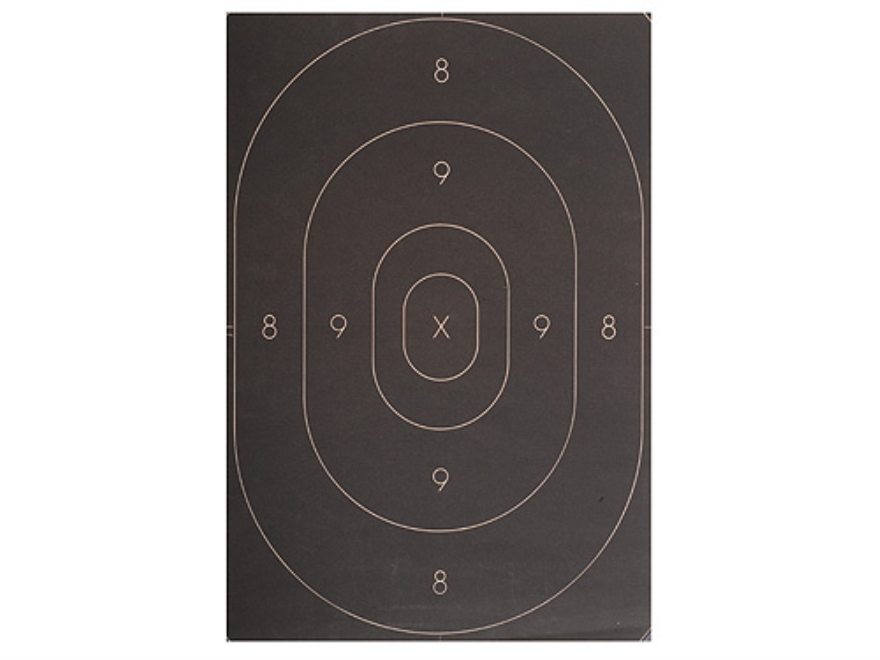 NRA Official Silhouette Targets Repair Center B-27C 50-Yard Paper Black Pack of 100