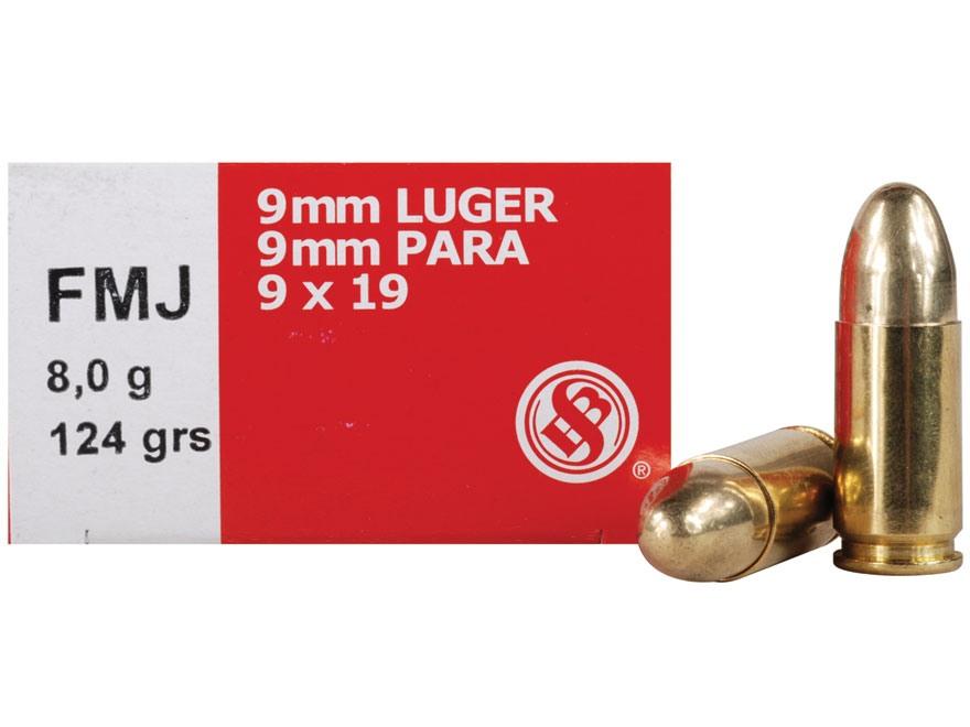 Sellier & Bellot Ammunition 9mm Luger 124 Grain Full Metal Jacket Box of 50