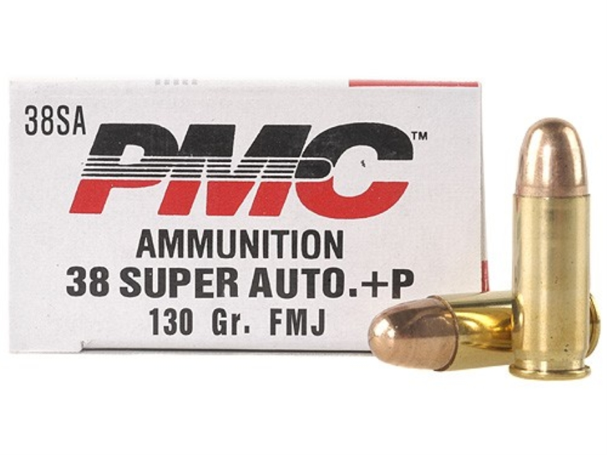 PMC Bronze Ammunition 38 Super +P 130 Grain Full Metal Jacket Box of 50