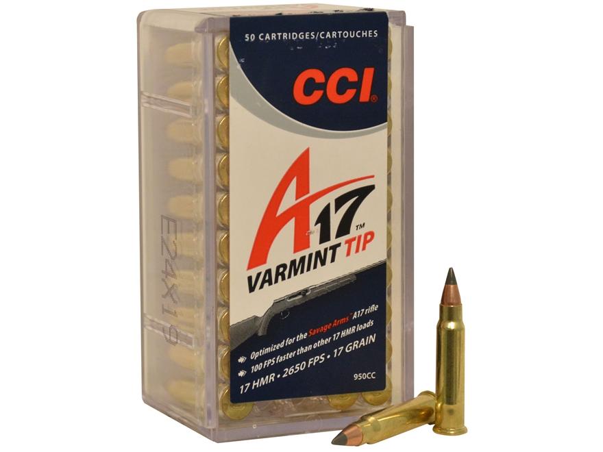 CCI A17 Ammunition 17 Hornady Magnum Rimfire (HMR) 17 Grain Tipped Varmint Box of 50