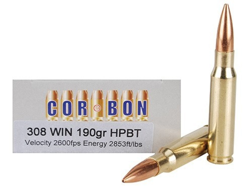 Cor-Bon Performance Match Ammunition 308 Winchester 190 Grain Sierra Hollow Point Boat ...