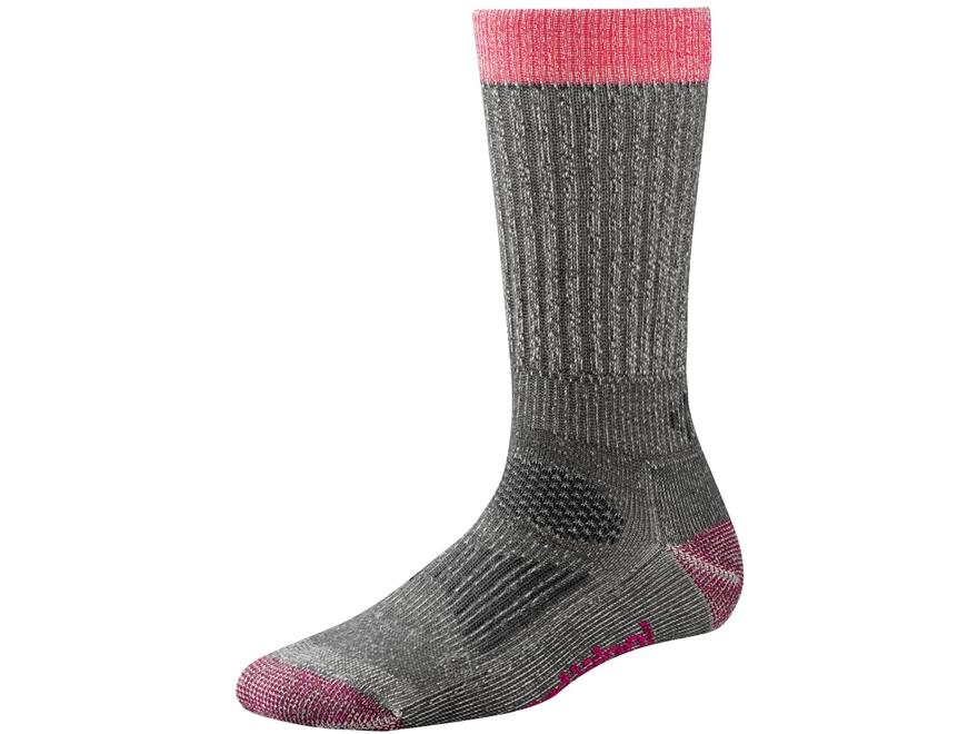 Smartwool Women's Hunt Light Crew Socks Merino Wool Medium Gray and Bright Pink Large (...
