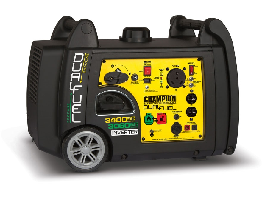 Champion 3100/3400 Watt Dual Fuel Inverter Generator with Electric Start