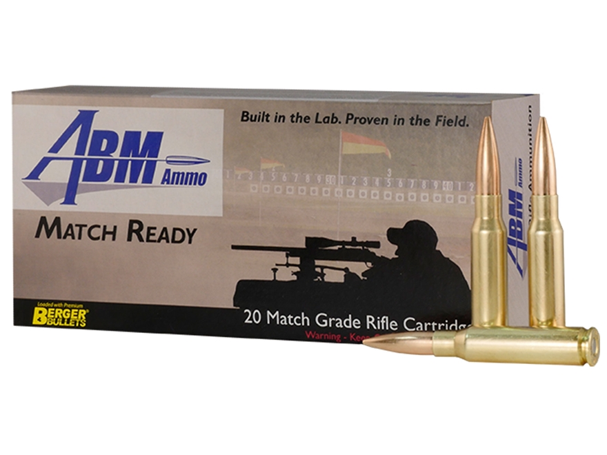 ABM Match Ready-Target Ammunition 308 Winchester 155.5 Grain Berger Match Fullbore Targ...