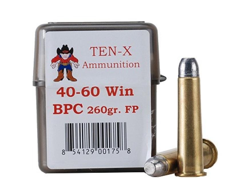Ten-X Cowboy Ammunition 40-60 WCF 260 Grain Lead Round Nose Flat Point BPC Box of 20