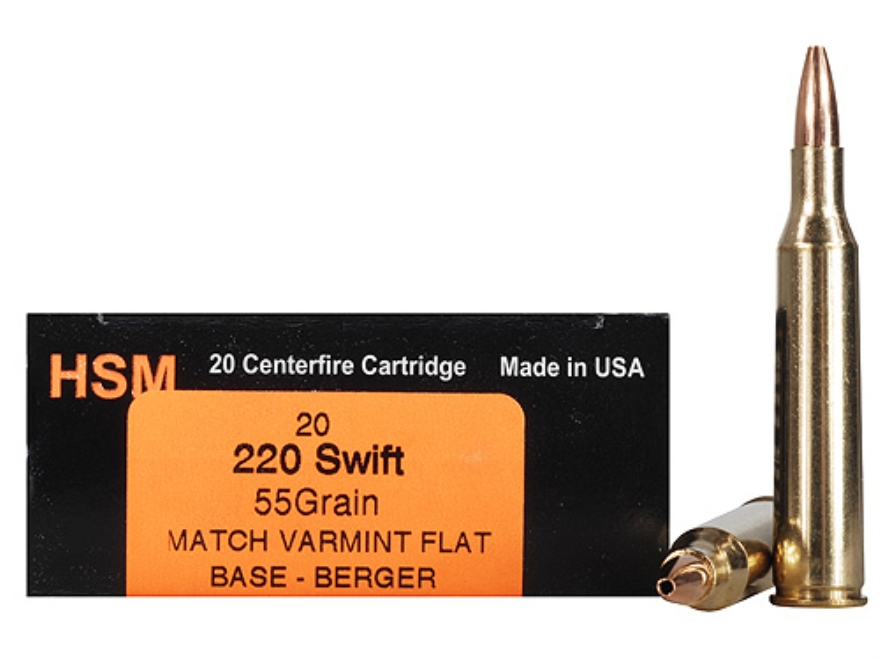 HSM Varmint Gold Ammunition 220 Swift 55 Grain Berger Varmint Hollow Point Flat Base Bo...