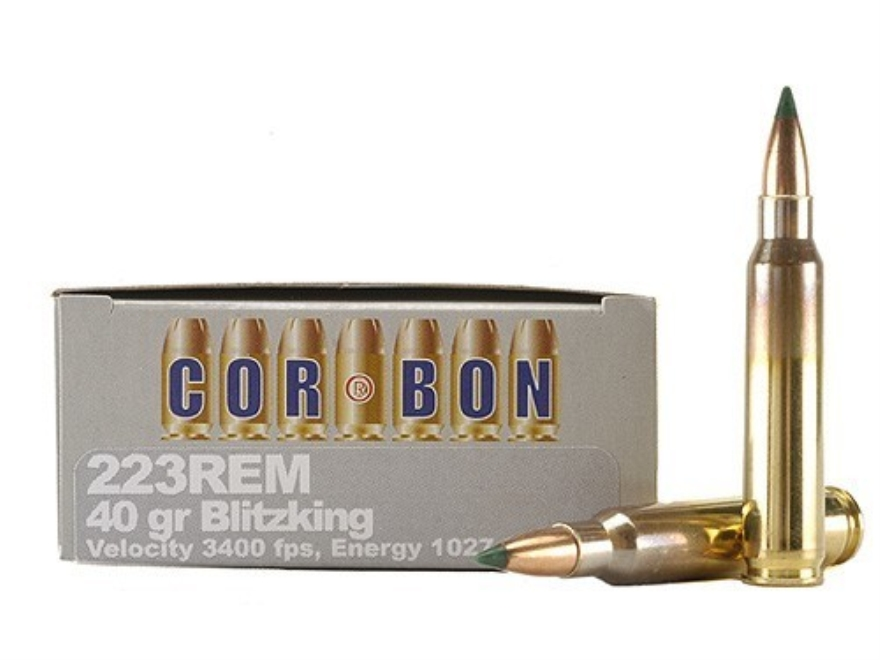 Cor-Bon Self-Defense Ammunition 223 Remington 40 Grain Sierra BlitzKing Polymer Tip Box...